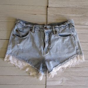 Free People Shorts Festival Shorts W/Lace SZ 24